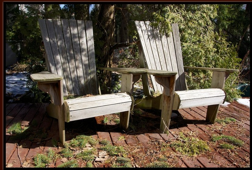 13 April - Our old Adirondack chairs on the deck have come through another winter and are ready for the lazy days of summer