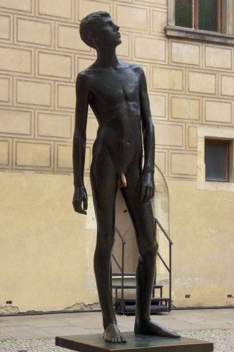 "An example of Czech ""gilded youth"" in the palace grounds"