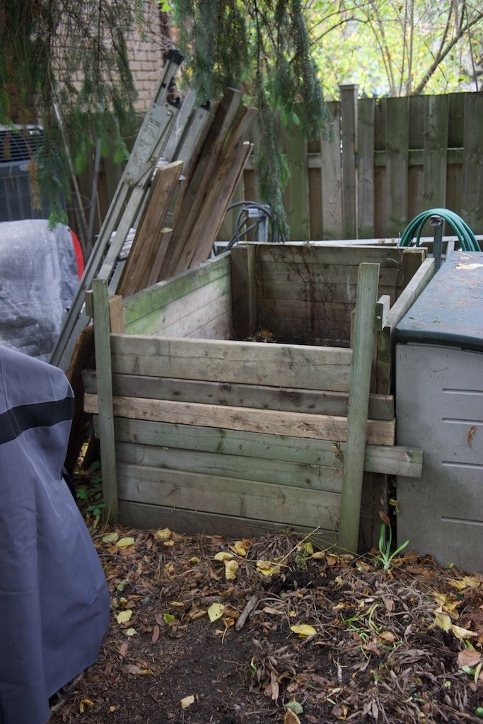 Our traditional compost bin - works well in summer.